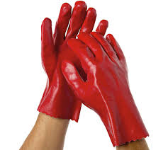 Liquid Resistant Gloves – PVC dipped – 270mm RED