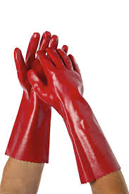 Liquid Resistant Gloves – PVC dipped – 400mm RED